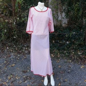 Vintage Lord&Taylor red & white Housedress